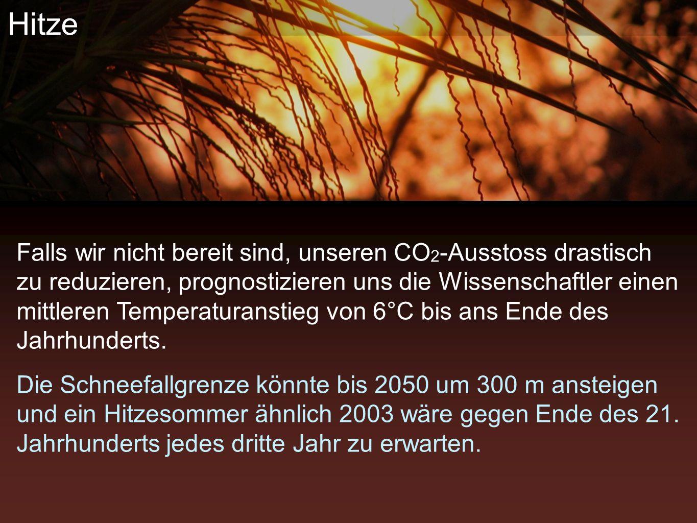 Wahrnehmung Falls wir nicht bereit sind, unseren CO 2 -Ausstoss drastisch zu reduzieren, prognostizieren uns die Wissenschaftler einen mittleren Temperaturanstieg von 6°C bis ans Ende des Jahrhunderts.