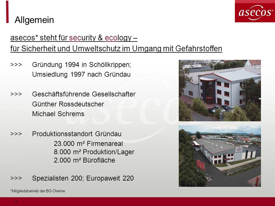 2 Allgemein asecos* steht für security & ecology – für Sicherheit und Umweltschutz im Umgang mit Gefahrstoffen >>>Gründung 1994 in Schöllkrippen; Umsi