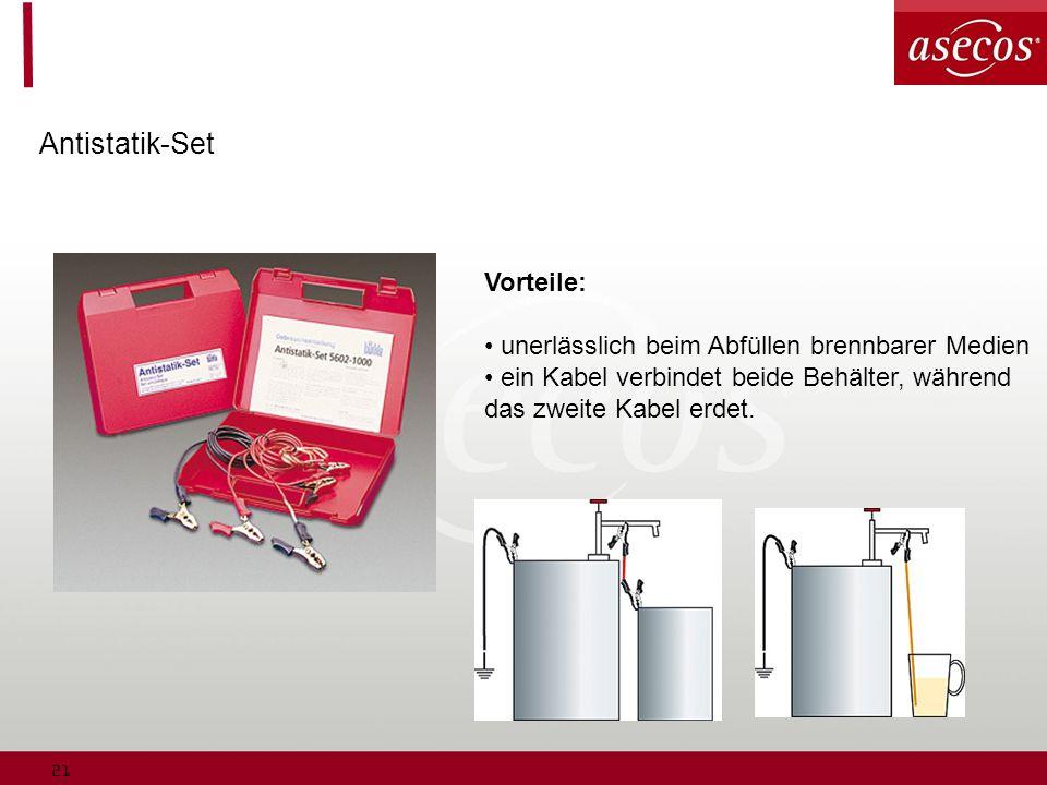 21 Antistatik-Set Vorteile: unerlässlich beim Abfüllen brennbarer Medien ein Kabel verbindet beide Behälter, während das zweite Kabel erdet.