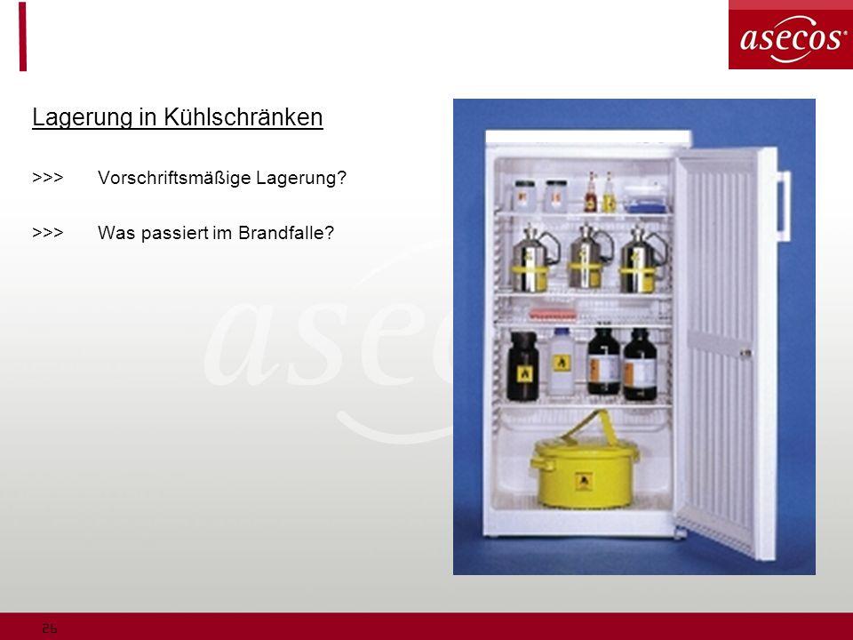 26 Lagerung in Kühlschränken >>>Vorschriftsmäßige Lagerung? >>>Was passiert im Brandfalle?