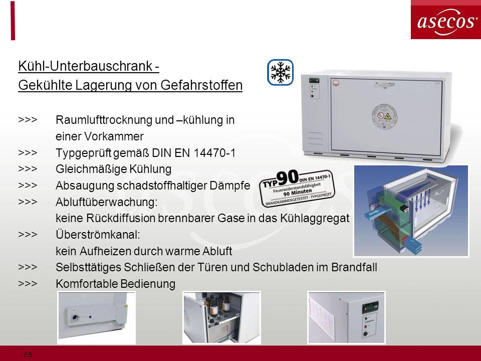 28 Kühl-Unterbauschrank - Gekühlte Lagerung von Gefahrstoffen >>>Raumlufttrocknung und –kühlung in einer Vorkammer >>>Typgeprüft gemäß DIN EN 14470-1 >>>Gleichmäßige Kühlung >>>Absaugung schadstoffhaltiger Dämpfe >>>Abluftüberwachung: keine Rückdiffusion brennbarer Gase in das Kühlaggregat >>>Überströmkanal: kein Aufheizen durch warme Abluft >>>Selbsttätiges Schließen der Türen und Schubladen im Brandfall >>>Komfortable Bedienung