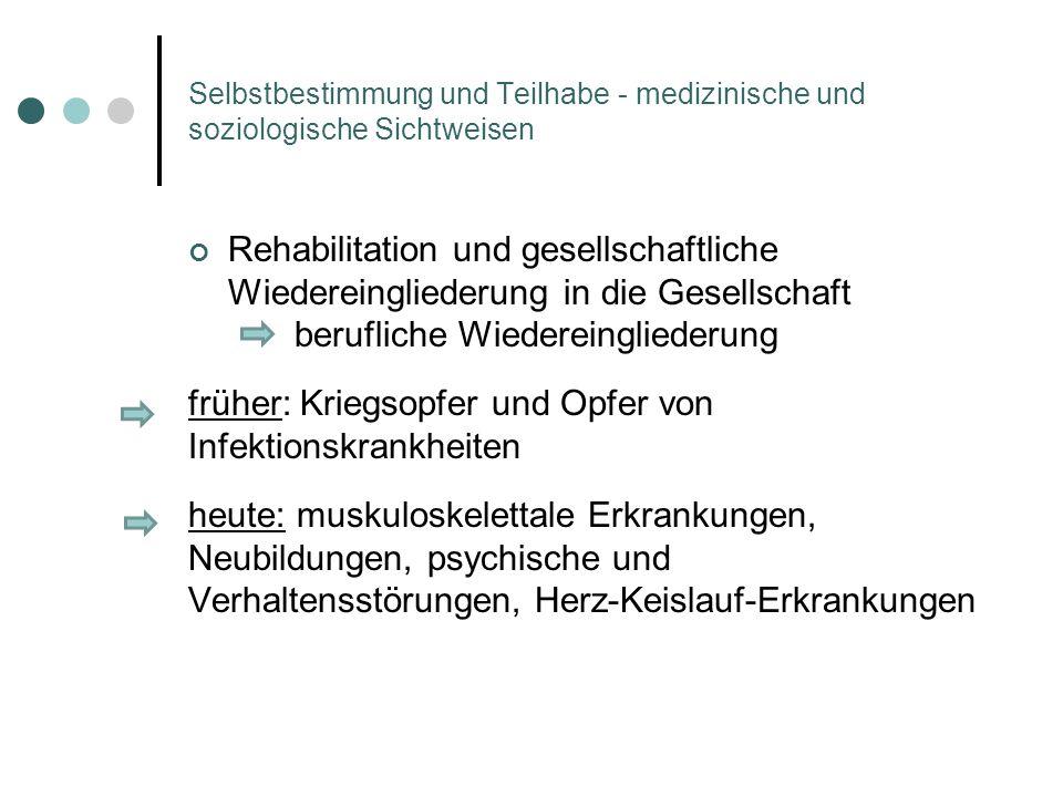 Selbstbestimmung und Teilhabe - medizinische und soziologische Sichtweisen Rehabilitation und gesellschaftliche Wiedereingliederung in die Gesellschaf