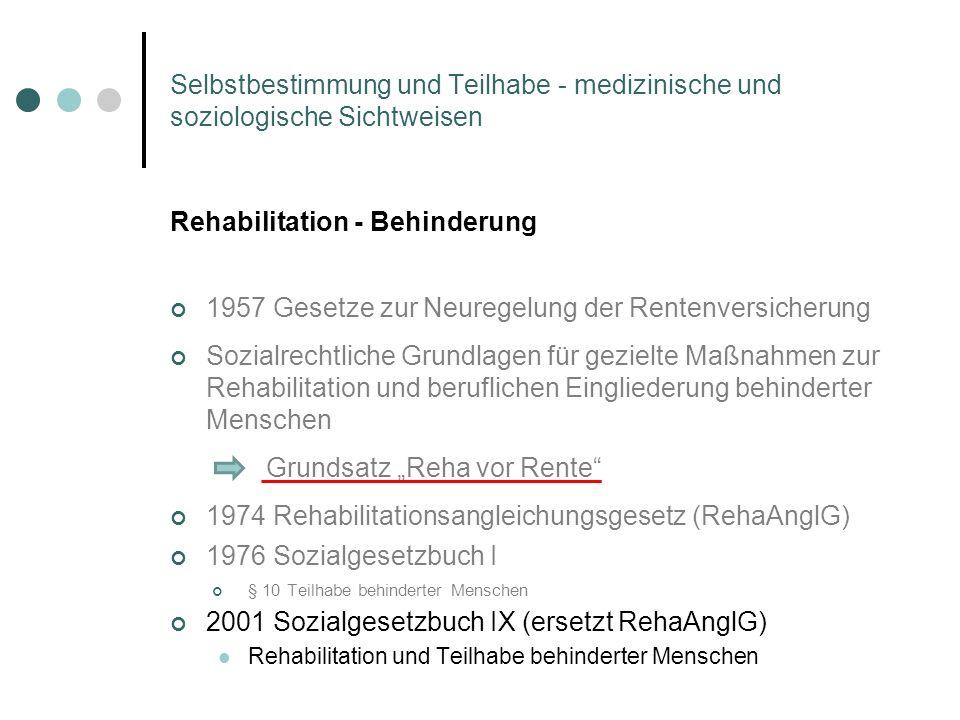 Selbstbestimmung und Teilhabe - medizinische und soziologische Sichtweisen Rehabilitation - Behinderung 1957 Gesetze zur Neuregelung der Rentenversich