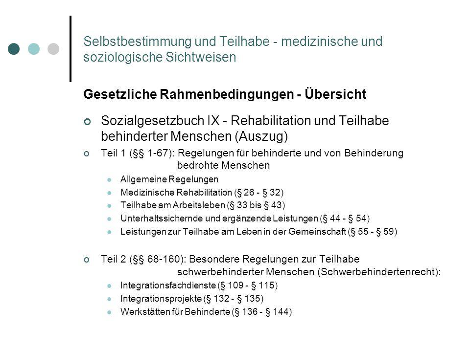 Selbstbestimmung und Teilhabe - medizinische und soziologische Sichtweisen Gesetzliche Rahmenbedingungen - Übersicht Sozialgesetzbuch IX - Rehabilitat