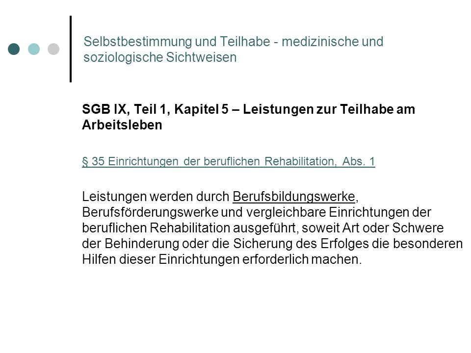 Selbstbestimmung und Teilhabe - medizinische und soziologische Sichtweisen SGB IX, Teil 1, Kapitel 5 – Leistungen zur Teilhabe am Arbeitsleben § 35 Ei