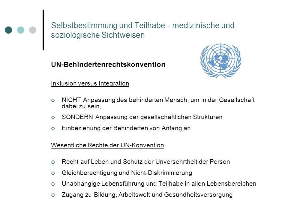 Selbstbestimmung und Teilhabe - medizinische und soziologische Sichtweisen UN-Behindertenrechtskonvention Inklusion versus Integration NICHT Anpassung