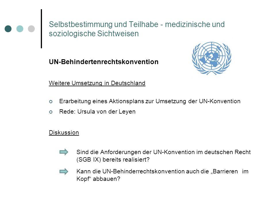 UN-Behindertenrechtskonvention Weitere Umsetzung in Deutschland Erarbeitung eines Aktionsplans zur Umsetzung der UN-Konvention Rede: Ursula von der Le