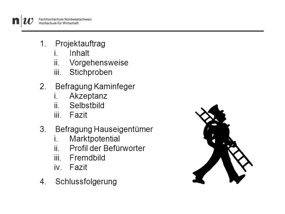 1. Projektauftrag i.Inhalt ii.Vorgehensweise iii.Stichproben 2.Befragung Kaminfeger i.Akzeptanz ii.Selbstbild iii.Fazit 3.Befragung Hauseigentümer i.M