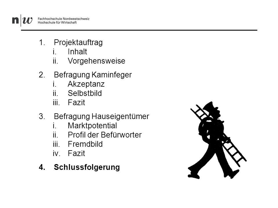 Schlussfolgerung (1/2) -Nachfrage nach Energieausweisen vorhanden Zahlungsbereitschaft eher klein -Grundsätzlich ist Ausstellung durch Kaminfeger- meister/Feuerungskontrolleure denkbar -Image wird von den Kunden als schlechter empfunden als vom Kaminfegermeister/ Feuerungskontrolleur
