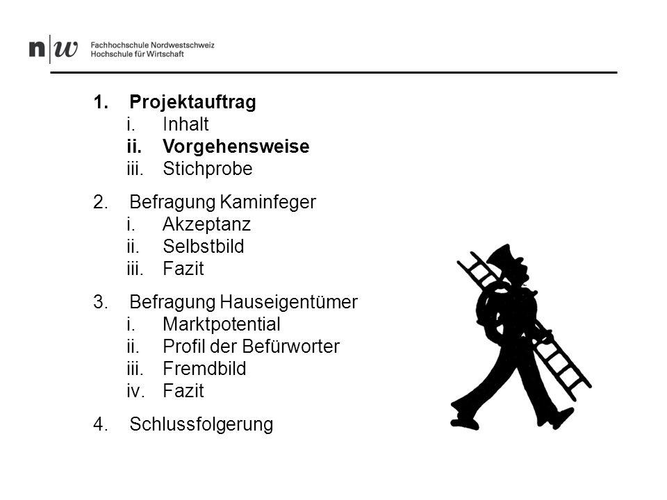 -Expertengespräche - Akzeptanz und Selbstbild der Kaminfeger und Feuerungskontrolleure -Erstellung und Versand von 690 Fragebögen an alle Kaminfegermeister / Feuerungskontrolleure der West- und Deutschschweiz -214 Fragebögen zurückerhalten -Auswertung der Daten -Nachfrage und Fremdbild Hauseigentümer -Erstellung und Versand von 2500 Fragebögen an Hauseigentümer im Kanton Aargau -473 Fragebögen zurückerhalten -Auswertung der Daten