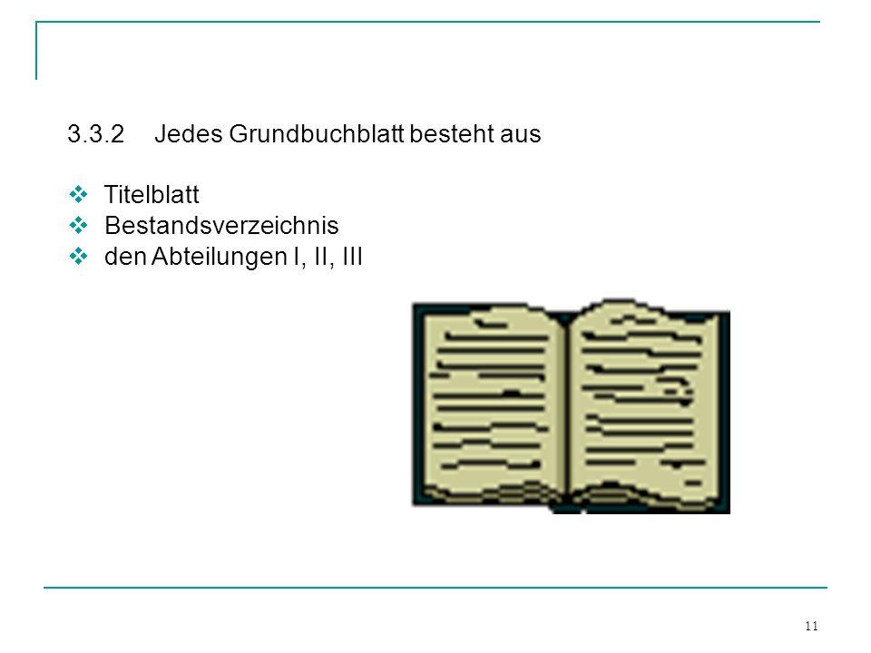 11 3.3.2Jedes Grundbuchblatt besteht aus Titelblatt Bestandsverzeichnis den Abteilungen I, II, III