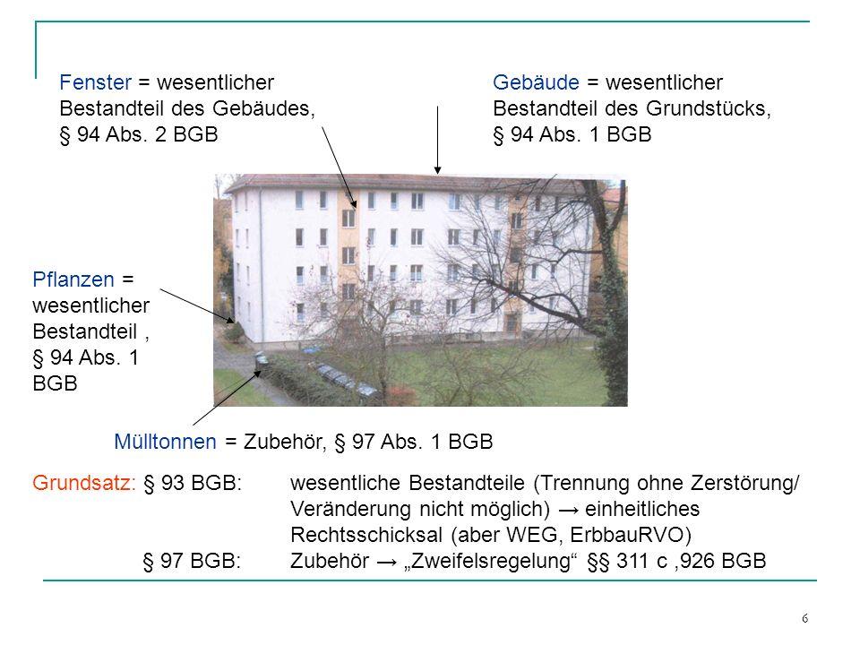 6 Fenster = wesentlicher Bestandteil des Gebäudes, § 94 Abs. 2 BGB Gebäude = wesentlicher Bestandteil des Grundstücks, § 94 Abs. 1 BGB Pflanzen = wese