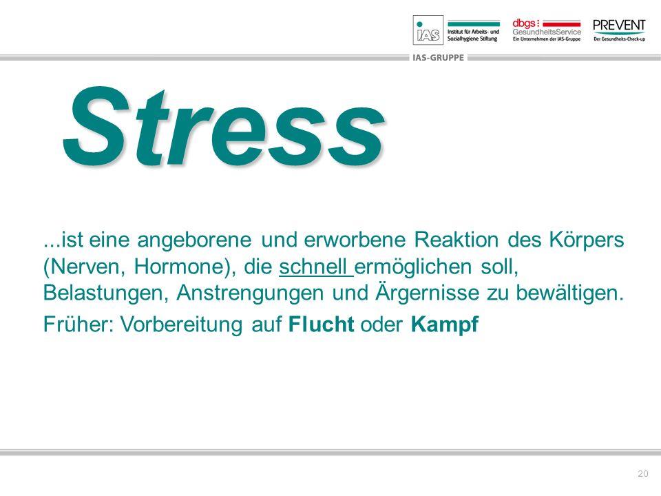 20 Stress...ist eine angeborene und erworbene Reaktion des Körpers (Nerven, Hormone), die schnell ermöglichen soll, Belastungen, Anstrengungen und Ärg