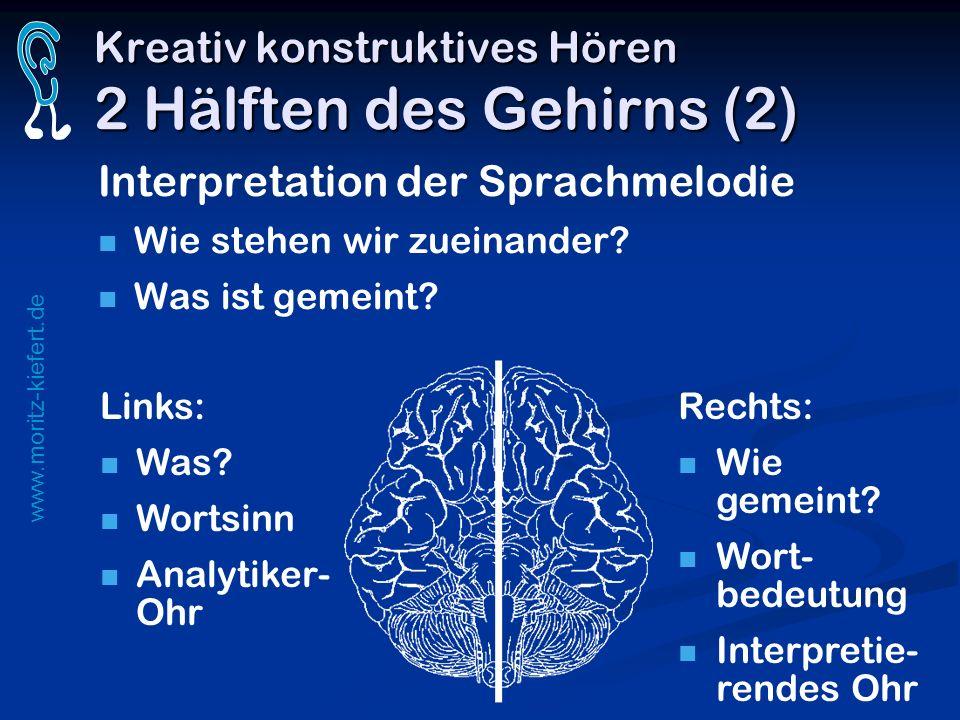 www.moritz-kiefert.de Kreativ konstruktives Hören 2 Hälften des Gehirns (2) Interpretation der Sprachmelodie Wie stehen wir zueinander? Was ist gemein