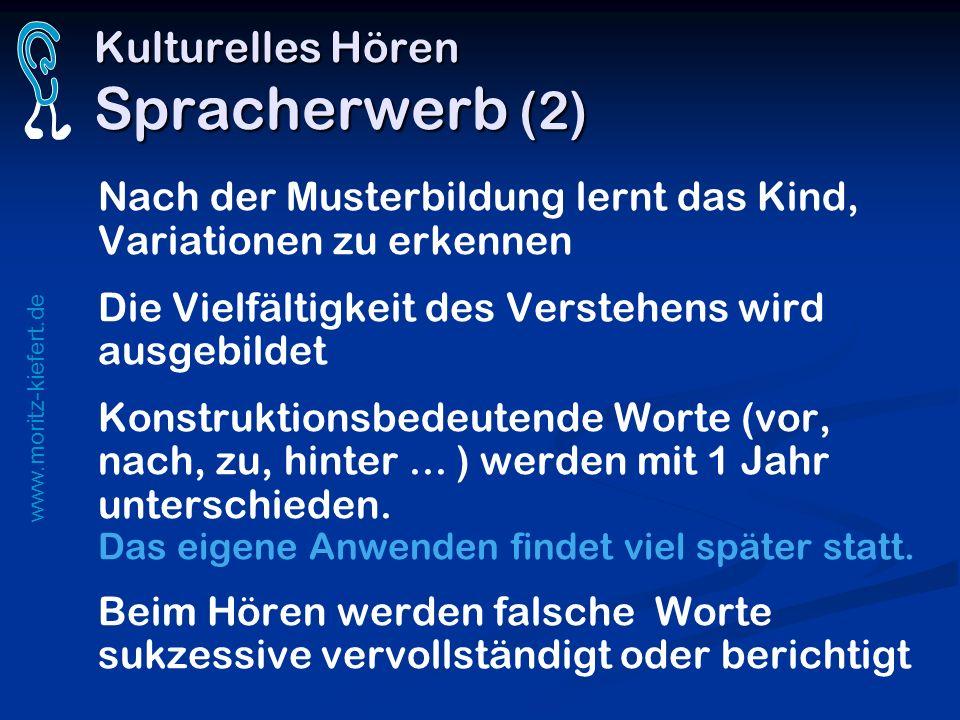 www.moritz-kiefert.de Kulturelles Hören Spracherwerb (2) Nach der Musterbildung lernt das Kind, Variationen zu erkennen Die Vielfältigkeit des Versteh