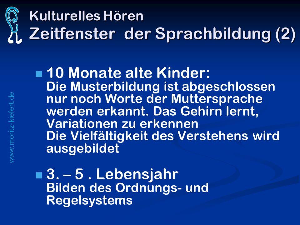 www.moritz-kiefert.de Kulturelles Hören Zeitfenster der Sprachbildung (2) 10 Monate alte Kinder: Die Musterbildung ist abgeschlossen nur noch Worte de