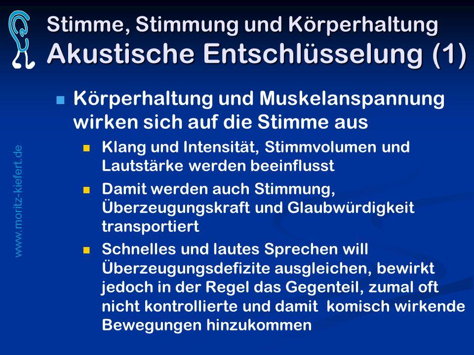 www.moritz-kiefert.de Stimme, Stimmung und Körperhaltung Akustische Entschlüsselung (1) Körperhaltung und Muskelanspannung wirken sich auf die Stimme