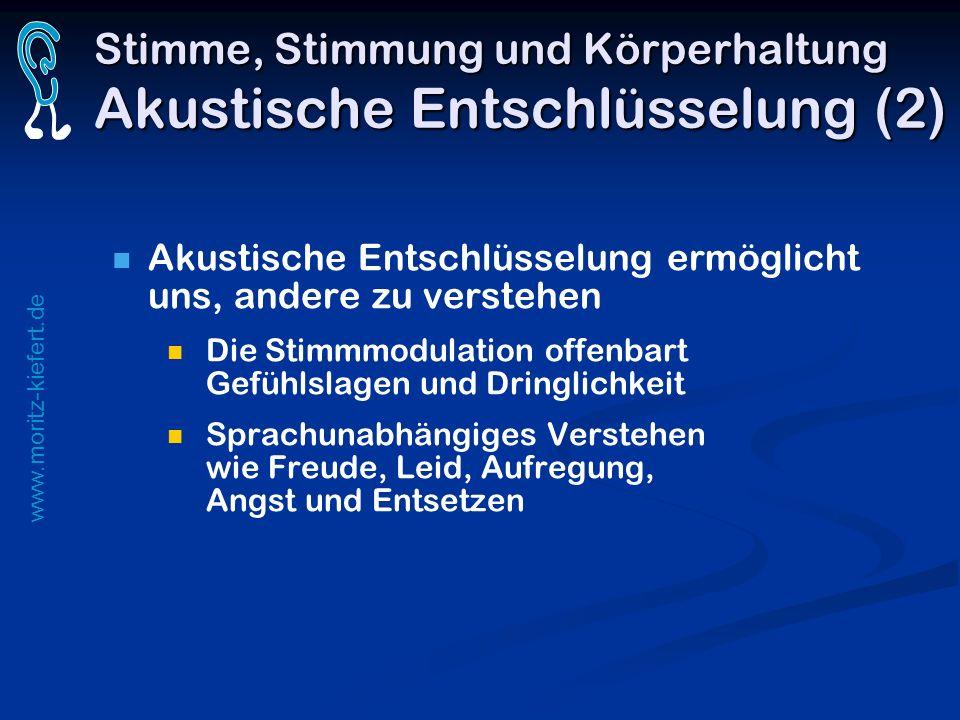 www.moritz-kiefert.de Stimme, Stimmung und Körperhaltung Akustische Entschlüsselung (2) Akustische Entschlüsselung ermöglicht uns, andere zu verstehen