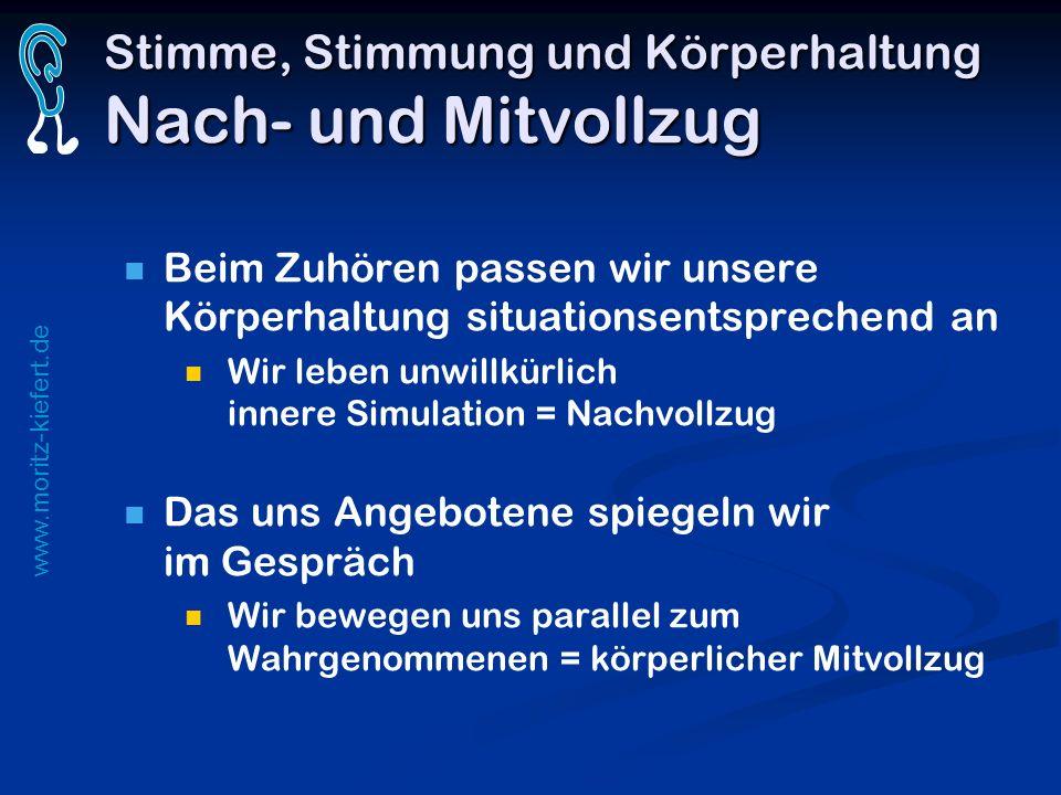 www.moritz-kiefert.de Stimme, Stimmung und Körperhaltung Nach- und Mitvollzug Beim Zuhören passen wir unsere Körperhaltung situationsentsprechend an W