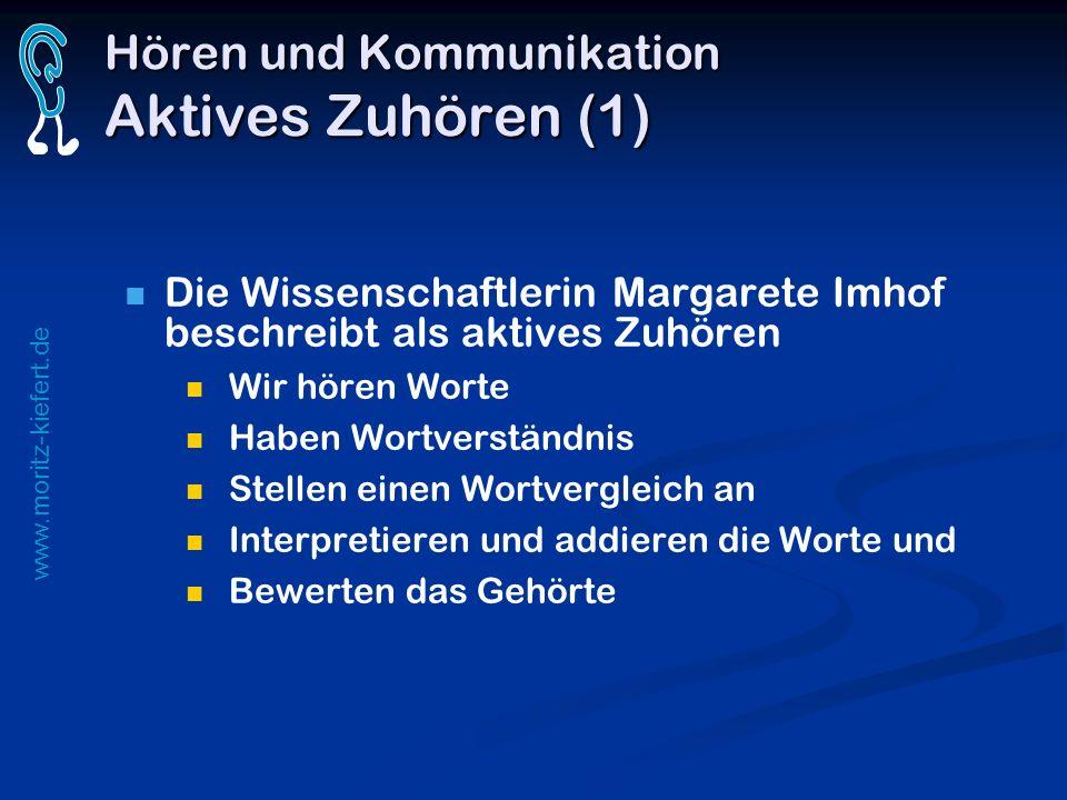 www.moritz-kiefert.de Hören und Kommunikation Aktives Zuhören (1) Die Wissenschaftlerin Margarete Imhof beschreibt als aktives Zuhören Wir hören Worte