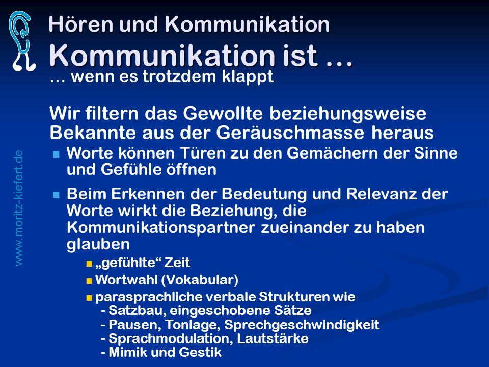 www.moritz-kiefert.de Hören und Kommunikation Kommunikation ist … … wenn es trotzdem klappt Wir filtern das Gewollte beziehungsweise Bekannte aus der