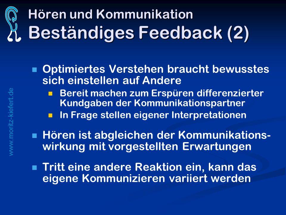 www.moritz-kiefert.de Hören und Kommunikation Beständiges Feedback (2) Optimiertes Verstehen braucht bewusstes sich einstellen auf Andere Bereit mache