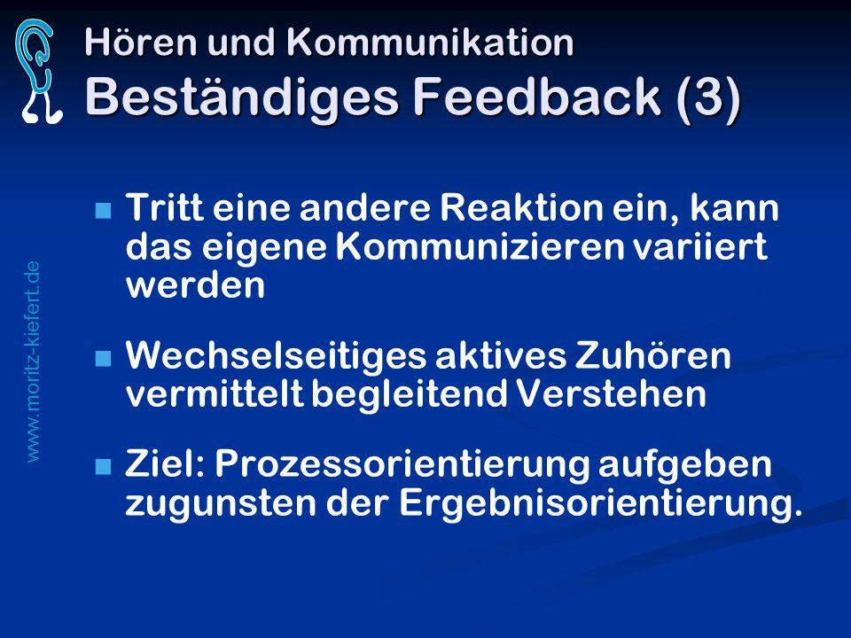 www.moritz-kiefert.de Hören und Kommunikation Beständiges Feedback (3) Tritt eine andere Reaktion ein, kann das eigene Kommunizieren variiert werden W