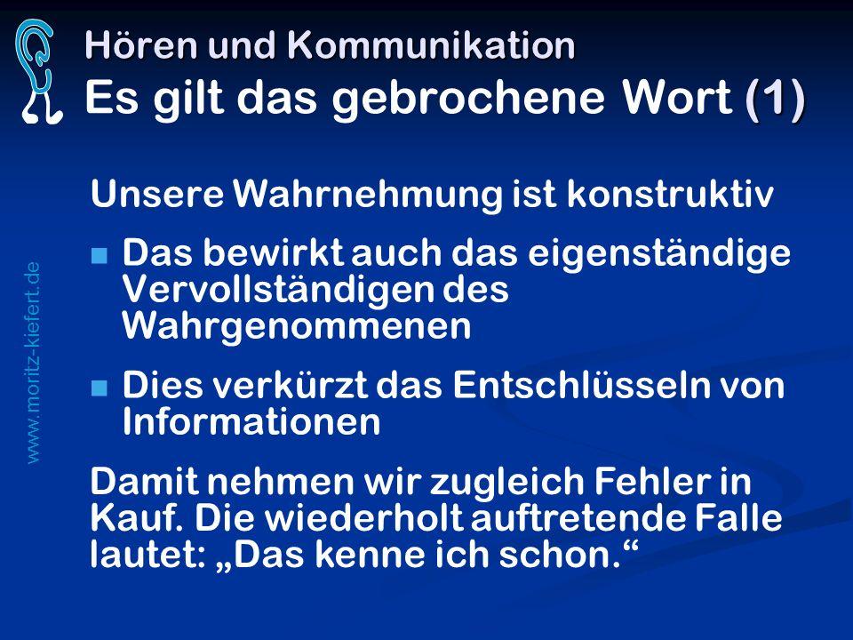 www.moritz-kiefert.de Hören und Kommunikation (1) Hören und Kommunikation Es gilt das gebrochene Wort (1) Unsere Wahrnehmung ist konstruktiv Das bewir