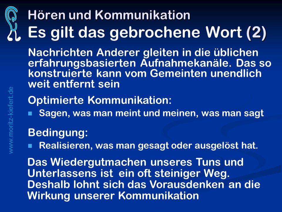 www.moritz-kiefert.de Hören und Kommunikation (2) Hören und Kommunikation Es gilt das gebrochene Wort (2) Nachrichten Anderer gleiten in die üblichen