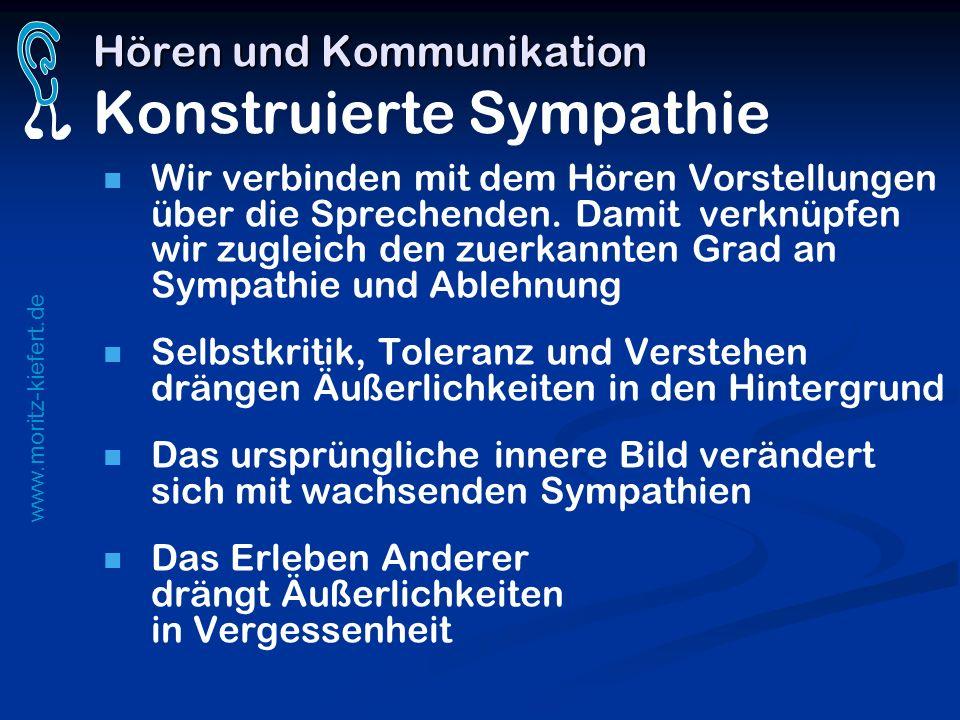 www.moritz-kiefert.de Hören und Kommunikation Hören und Kommunikation Konstruierte Sympathie Wir verbinden mit dem Hören Vorstellungen über die Sprech