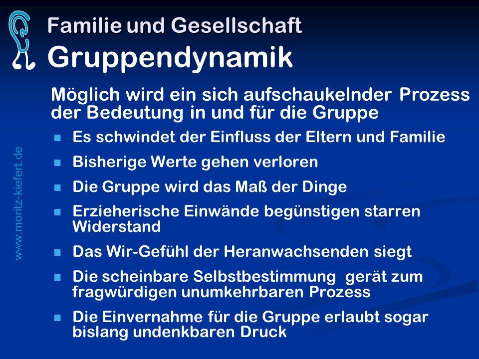 www.moritz-kiefert.de Familie und Gesellschaft Familie und Gesellschaft Gruppendynamik Es schwindet der Einfluss der Eltern und Familie Bisherige Wert