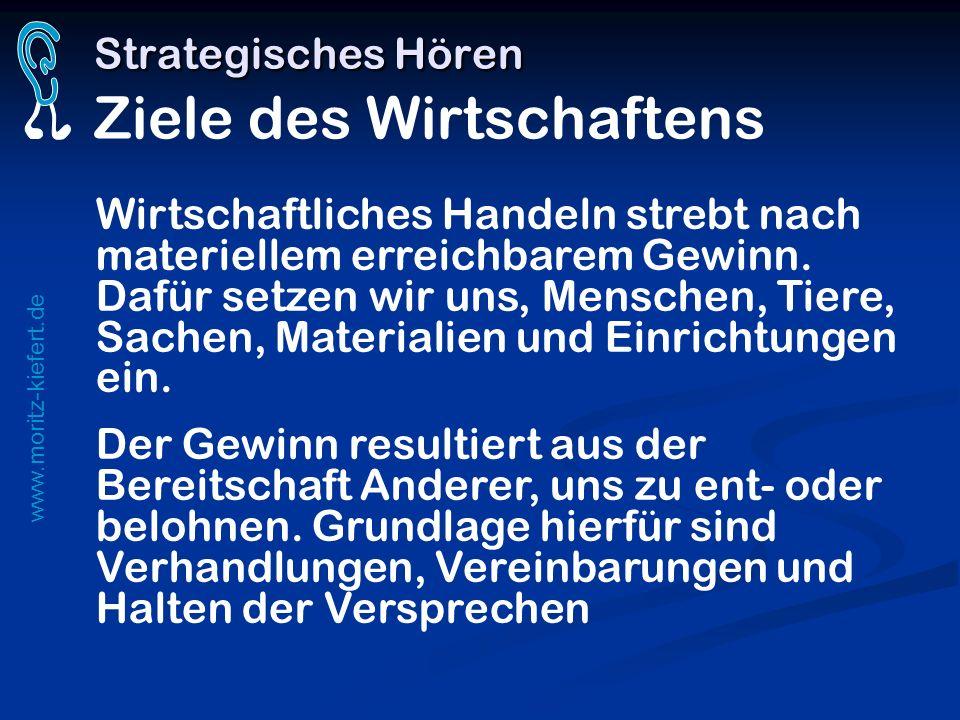 www.moritz-kiefert.de Strategisches Hören Strategisches Hören Ziele des Wirtschaftens Wirtschaftliches Handeln strebt nach materiellem erreichbarem Ge