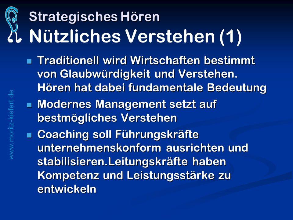 www.moritz-kiefert.de Strategisches Hören Strategisches Hören Nützliches Verstehen (1) Traditionell wird Wirtschaften bestimmt von Glaubwürdigkeit und