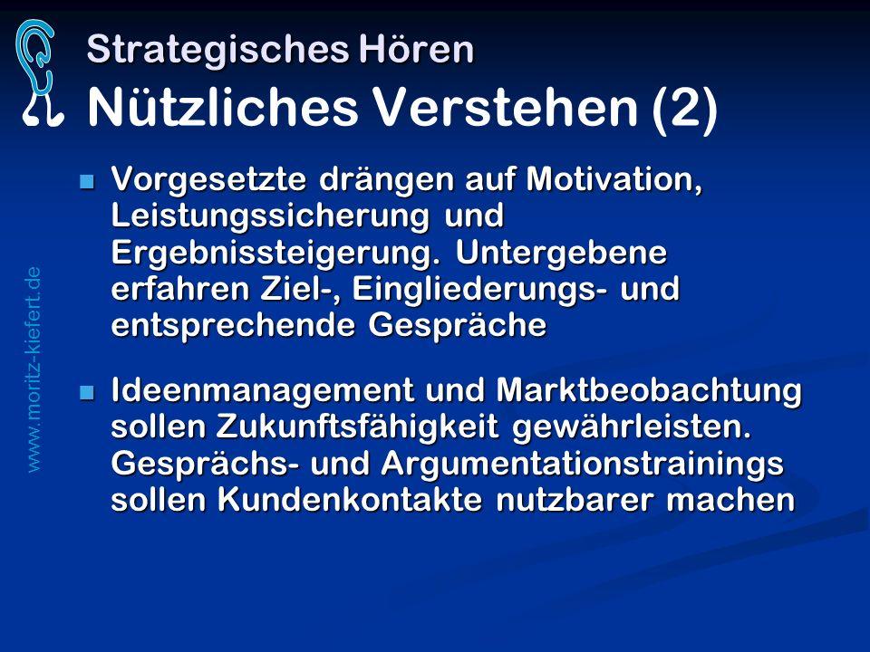 www.moritz-kiefert.de Strategisches Hören Strategisches Hören Nützliches Verstehen (2) Vorgesetzte drängen auf Motivation, Leistungssicherung und Erge