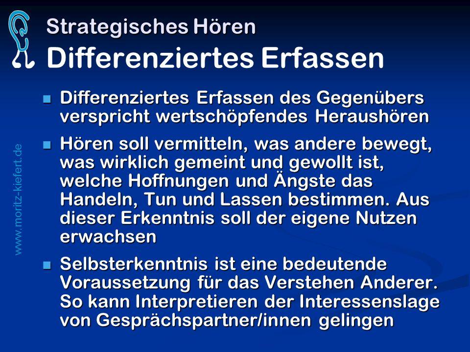 www.moritz-kiefert.de Strategisches Hören Strategisches Hören Differenziertes Erfassen Differenziertes Erfassen des Gegenübers verspricht wertschöpfen