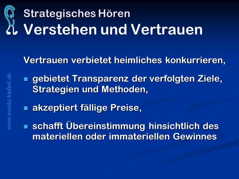 www.moritz-kiefert.de Strategisches Hören Strategisches Hören Verstehen und Vertrauen Vertrauen verbietet heimliches konkurrieren, gebietet Transparen