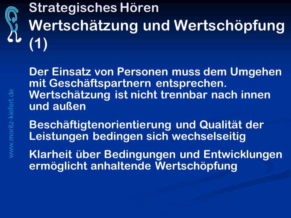 www.moritz-kiefert.de Strategisches Hören Strategisches Hören Wertschätzung und Wertschöpfung (1) Der Einsatz von Personen muss dem Umgehen mit Geschä