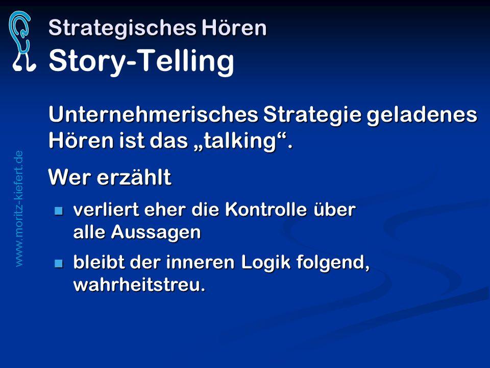 www.moritz-kiefert.de Strategisches Hören Strategisches Hören Story-Telling Unternehmerisches Strategie geladenes Hören ist das talking. Wer erzählt v