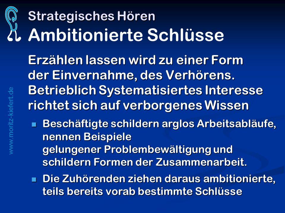 www.moritz-kiefert.de Strategisches Hören Strategisches Hören Ambitionierte Schlüsse Erzählen lassen wird zu einer Form der Einvernahme, des Verhörens