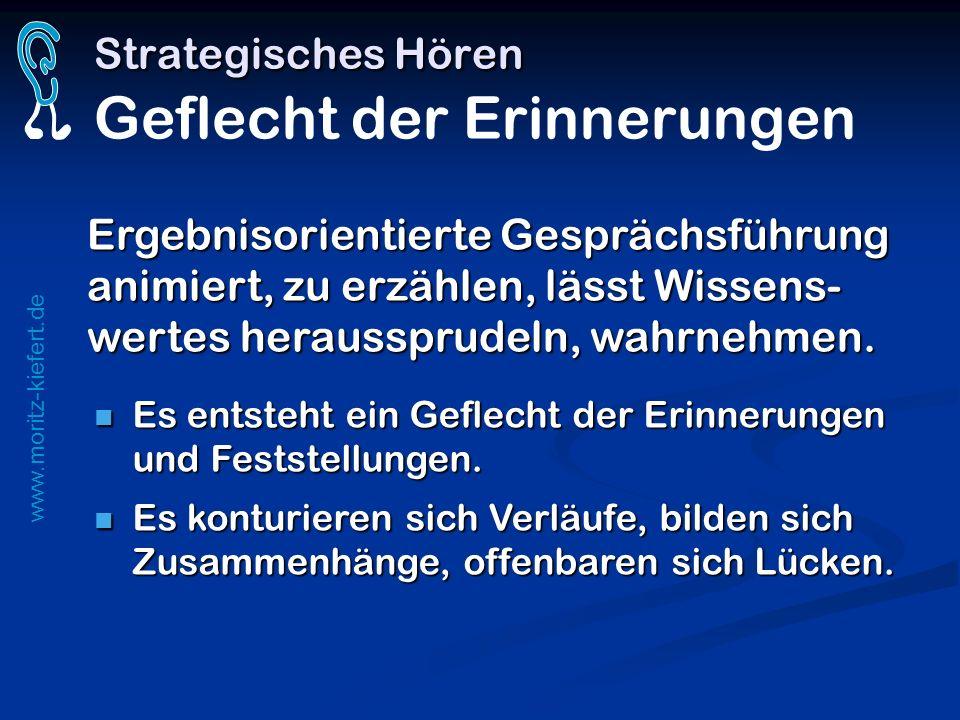 www.moritz-kiefert.de Strategisches Hören Strategisches Hören Geflecht der Erinnerungen Es entsteht ein Geflecht der Erinnerungen und Feststellungen.