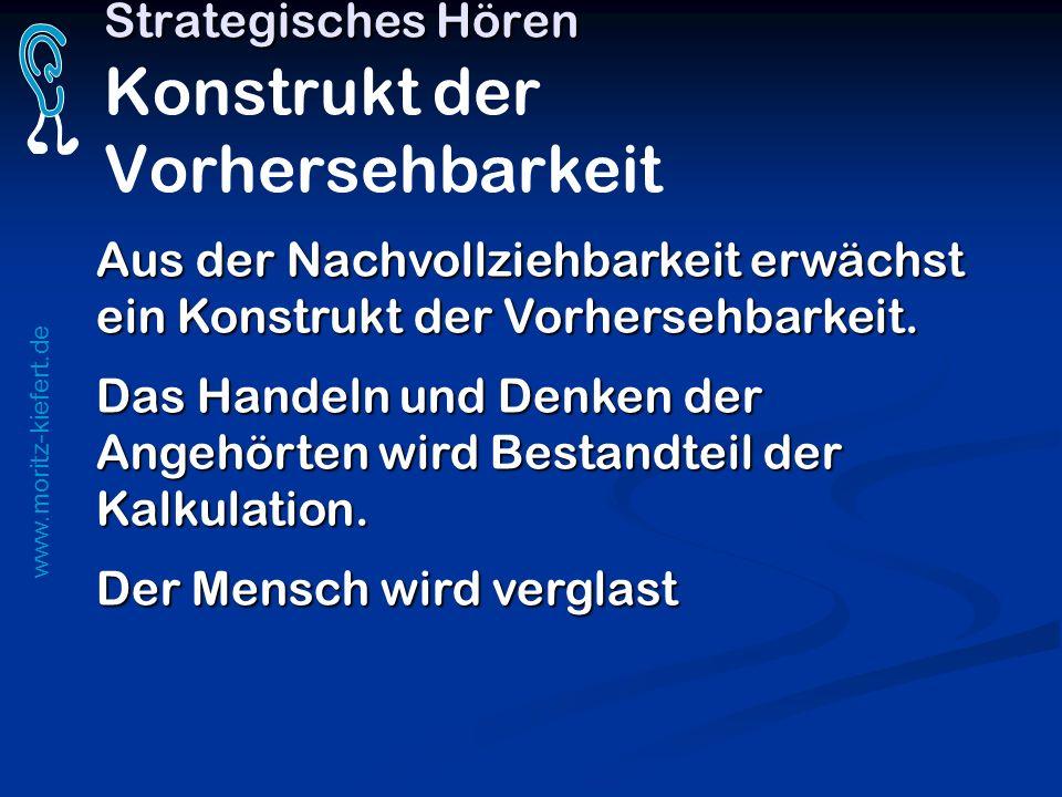 www.moritz-kiefert.de Strategisches Hören Strategisches Hören Konstrukt der Vorhersehbarkeit Aus der Nachvollziehbarkeit erwächst ein Konstrukt der Vo