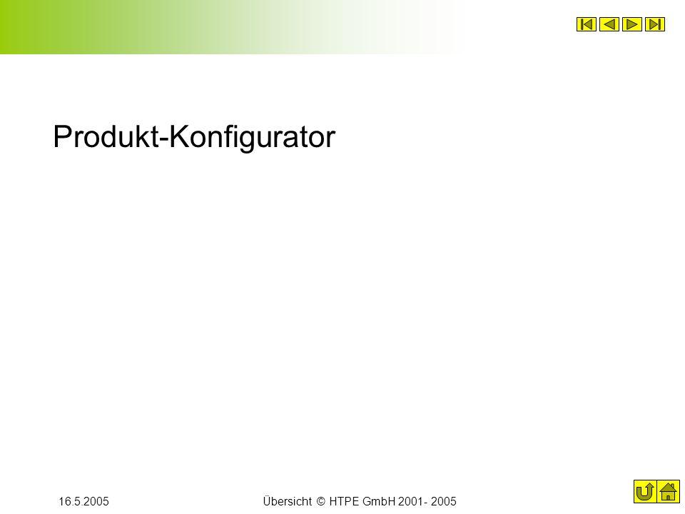 16.5.2005Übersicht © HTPE GmbH 2001- 2005 Produkt-Konfigurator