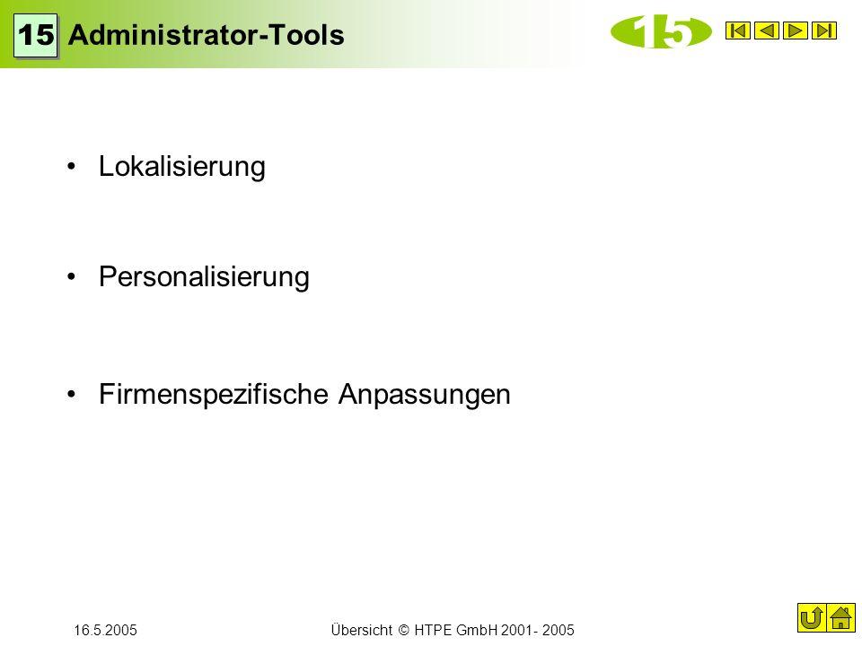 16.5.2005Übersicht © HTPE GmbH 2001- 2005 Administrator-Tools Lokalisierung Personalisierung Firmenspezifische Anpassungen 15