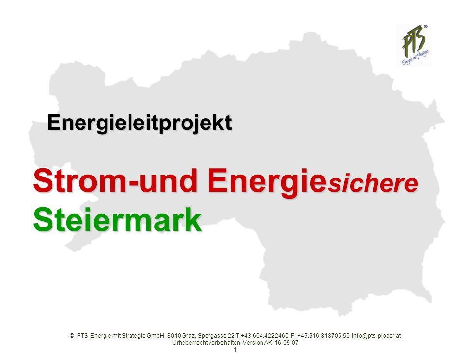 © PTS Energie mit Strategie GmbH, 8010 Graz, Sporgasse 22;T:+43.664.4222460, F: +43.316.818705.50, info@pts-ploder.at Urheberrecht vorbehalten, Version AK-16-05-07 1 Strom-und Energie sichere Steiermark Energieleitprojekt Energieleitprojekt