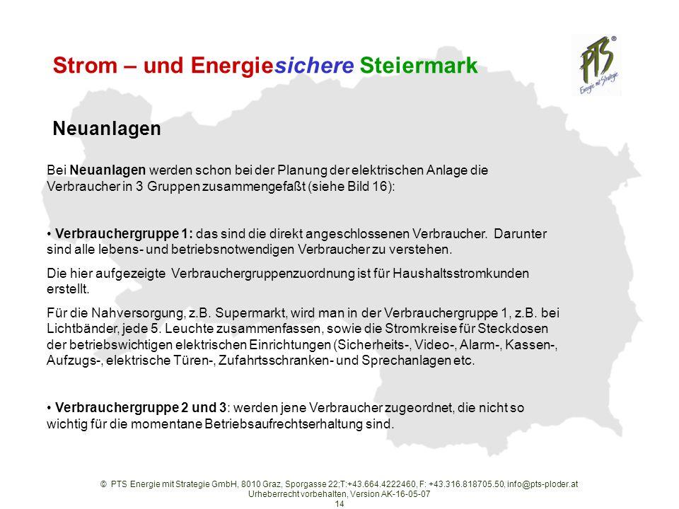 © PTS Energie mit Strategie GmbH, 8010 Graz, Sporgasse 22;T:+43.664.4222460, F: +43.316.818705.50, info@pts-ploder.at Urheberrecht vorbehalten, Version AK-16-05-07 14 Strom – und Energiesichere Steiermark Bei Neuanlagen werden schon bei der Planung der elektrischen Anlage die Verbraucher in 3 Gruppen zusammengefaßt (siehe Bild 16): Verbrauchergruppe 1: das sind die direkt angeschlossenen Verbraucher.