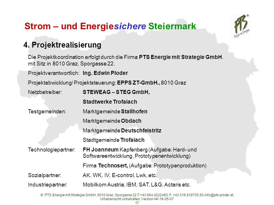 © PTS Energie mit Strategie GmbH, 8010 Graz, Sporgasse 22;T:+43.664.4222460, F: +43.316.818705.50, info@pts-ploder.at Urheberrecht vorbehalten, Version AK-16-05-07 17 Strom – und Energiesichere Steiermark 4.