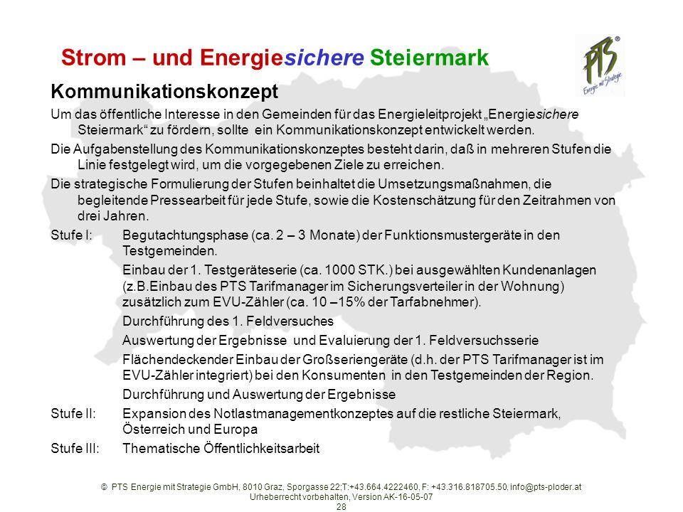 © PTS Energie mit Strategie GmbH, 8010 Graz, Sporgasse 22;T:+43.664.4222460, F: +43.316.818705.50, info@pts-ploder.at Urheberrecht vorbehalten, Version AK-16-05-07 28 Strom – und Energiesichere Steiermark Kommunikationskonzept Um das öffentliche Interesse in den Gemeinden für das Energieleitprojekt Energiesichere Steiermark zu fördern, sollte ein Kommunikationskonzept entwickelt werden.
