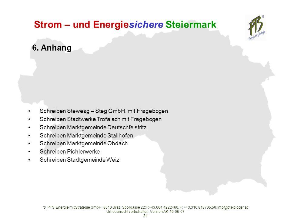 © PTS Energie mit Strategie GmbH, 8010 Graz, Sporgasse 22;T:+43.664.4222460, F: +43.316.818705.50, info@pts-ploder.at Urheberrecht vorbehalten, Version AK-16-05-07 31 Strom – und Energiesichere Steiermark Schreiben Steweag – Steg GmbH.