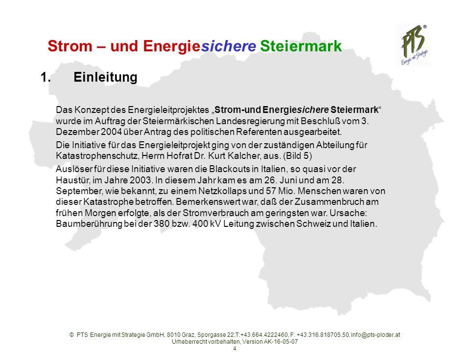 © PTS Energie mit Strategie GmbH, 8010 Graz, Sporgasse 22;T:+43.664.4222460, F: +43.316.818705.50, info@pts-ploder.at Urheberrecht vorbehalten, Version AK-16-05-07 4 Strom – und Energiesichere Steiermark Das Konzept des Energieleitprojektes Strom-und Energiesichere Steiermark wurde im Auftrag der Steiermärkischen Landesregierung mit Beschluß vom 3.