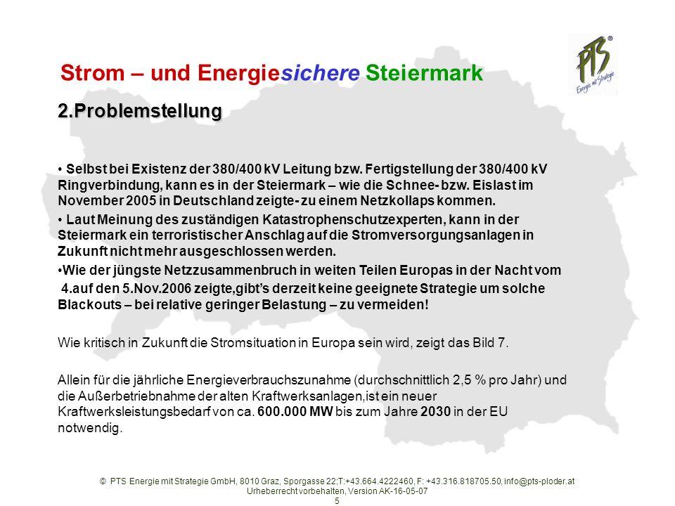 © PTS Energie mit Strategie GmbH, 8010 Graz, Sporgasse 22;T:+43.664.4222460, F: +43.316.818705.50, info@pts-ploder.at Urheberrecht vorbehalten, Version AK-16-05-07 5 2.Problemstellung Selbst bei Existenz der 380/400 kV Leitung bzw.